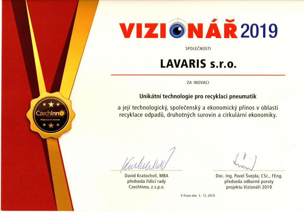 Ocenění Vizionář 2019 pro společnost LAVARIS